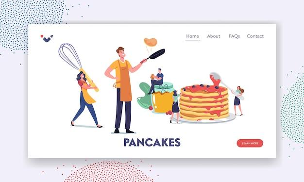 Persone che friggono il modello di pagina di destinazione delle frittelle. piccoli personaggi maschili e femminili che cucinano e mangiano frittelle fatte in casa. uomo e donna che indossano grembiuli con enormi utensili da cucina. fumetto illustrazione vettoriale