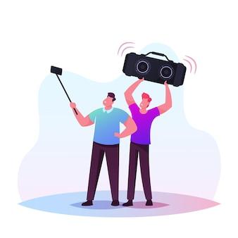 Illustrazione di persone e gadget