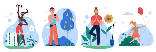 Persone nel set da giardino, personaggio dei cartoni animati fitness facendo esercizi sportivi, yogista in piedi nella posa di yoga