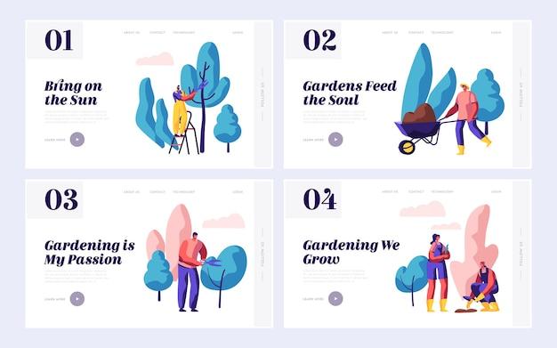 Persone giardiniere piantare natura giardino set pagina di destinazione.