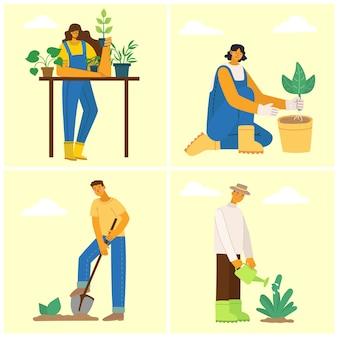 Giardinieri di persone. uomo con la carriola di terra, una donna che tiene un vaso di fiori e un annaffiatoio. illustrazione vettoriale in uno stile piatto