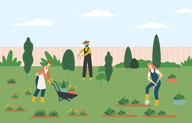 Persone che fanno giardinaggio, donne e uomini agricoltori lavoratori agricoli che coltivano piante e fiori sul prato o nel cortile. personaggio che tira carriola con pentole, uomo che lavora con le forbici illustrazione vettoriale