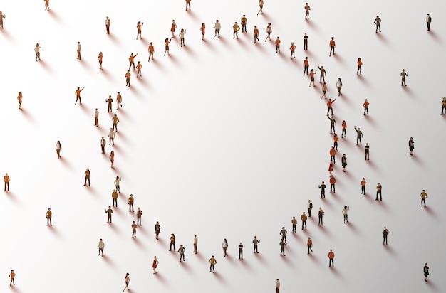 Persone che si radunano formando un cerchio. simbolo di lavoro di squadra, cooperazione, partnership.