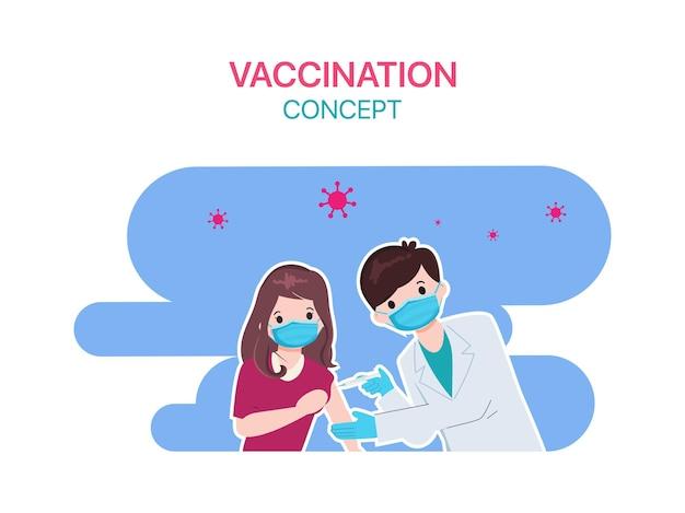 Le persone ottengono il vaccino covid-19 con il medico in ospedale