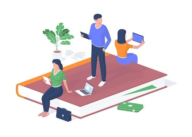 Persone che ricevono istruzione online. gli studenti con tablet ascoltano la lezione. computer portatile e valigetta sul pavimento. videoconferenze e presentazioni scientifiche via internet. realismo isometrico vettoriale