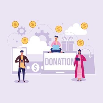 Persone che sgranano l'illustrazione del fumetto di concetto di donazione in linea