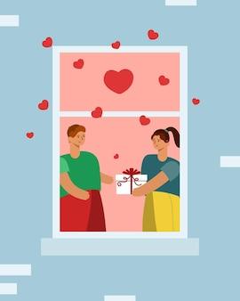 Le persone si scambiano un regalo. amore alla finestra, cuori che volano intorno. san valentino
