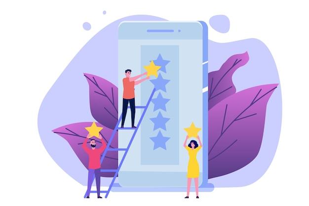 Le persone assegnano una stella di valutazione d'oro all'app per smartphone