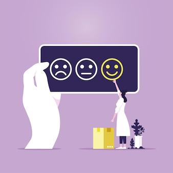 Le persone danno valutazioni e feedback delle recensioni scelta del cliente e conoscono il concetto del cliente