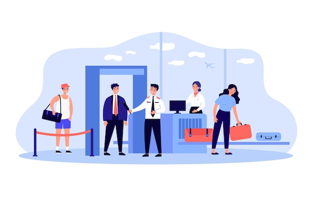 Persone che danno i bagagli per il check-in concetto di aeroporto
