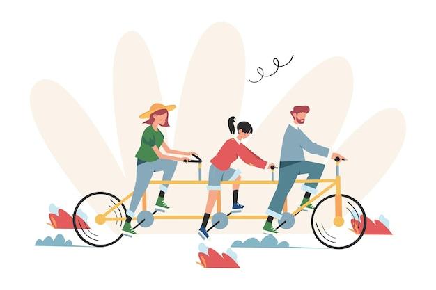 Le persone vanno in squadra e in bicicletta verso il loro obiettivo, per aumentare la motivazione, strada verso l'obiettivo