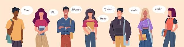 Persone che salutano in diverse lingue. bolle di saluto multilingue, persone diversi paesi, concetto multiculturale di vettore di comunicazione internazionale