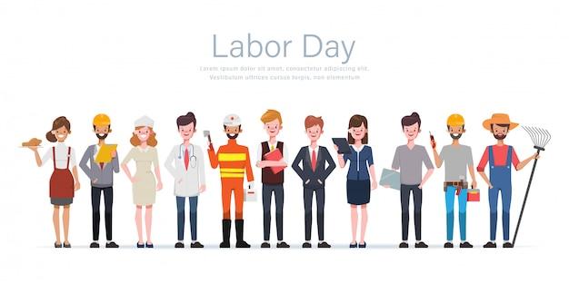 Insieme di lavoro differente di occupazione del gruppo della gente.