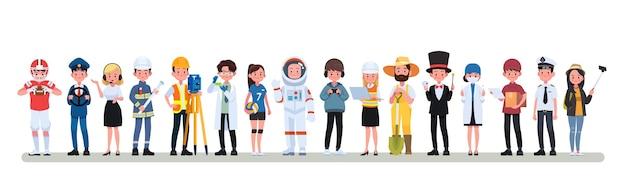 Gruppo di persone diverse professioni di occupazione insieme