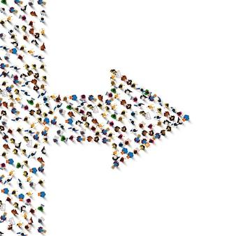 Freccia del segno del gruppo di persone a destra su bianco.