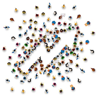 Freccia del segno del gruppo di persone su sullo sfondo bianco. illustrazione vettoriale