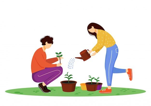 Illustrazione piana delle piante crescenti della gente