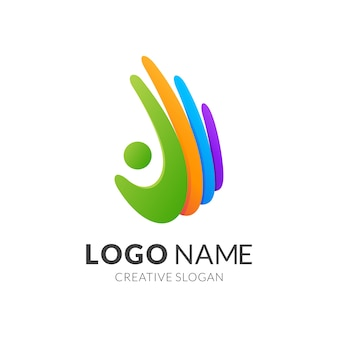 Modello di logo di persone e mano, stile logo moderno in colori vivaci sfumati