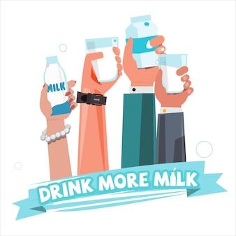 La gente passa con il latte. bere più latte concept