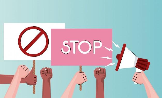 Persone mani che protestano cartello di sollevamento con stop word e megafono sulla città