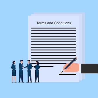 Le persone si stringono la mano e si occupano di termini e condizioni metafora dell'accordo. illustrazione di concetto di vettore piatto di affari.