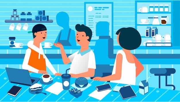 La gente è appesa al caffè a parlare con un amico, a mangiare e a bere. incontro con il cliente a illustrazione piatta caffetteria
