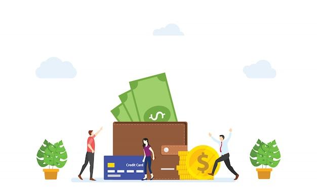 La gente felice davanti al grande portafoglio ha riempito i soldi. concetto di pagamento stipendio moderno stile cartone animato piatto.