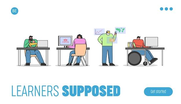 Le persone hanno corsi online i personaggi usano le tecnologie moderne