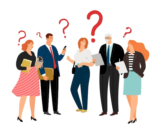Le persone hanno domande. punti interrogativi, caratteri vettoriali di squadra di affari di età diversa