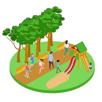La gente si rilassa nel concetto isometrico del parco
