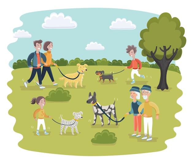 Una di persone che si divertono in un parco per cani