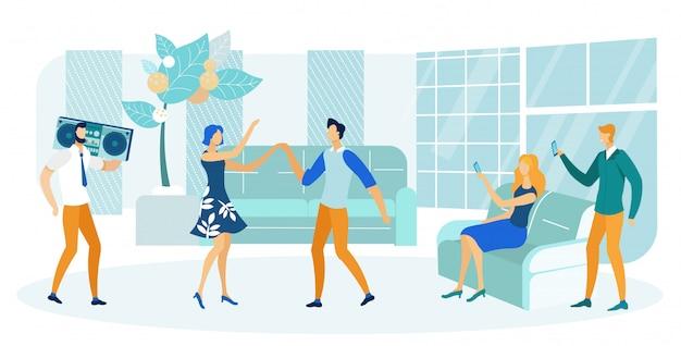La gente che fa festa nell'illustrazione piana o dell'appartamento piano.