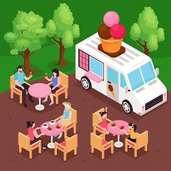 Persone che fanno uno spuntino nel parco accanto all'illustrazione isometrica del furgone 3d del gelato