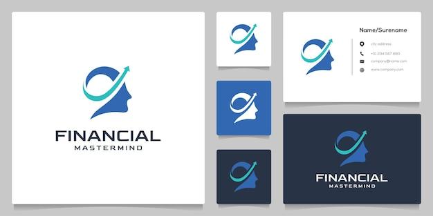 Persone testa freccia pianificazione finanziaria logo design