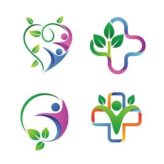 Vettore stabilito di logo di salute della gente
