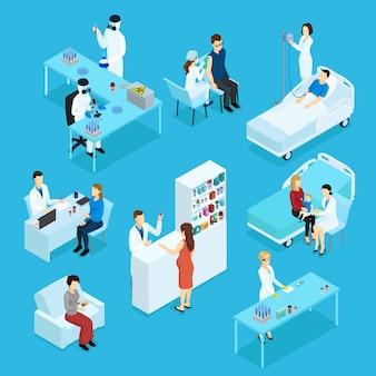 Insieme isometrico di persone e assistenza sanitaria