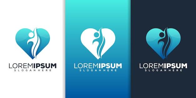 Design del logo del cuore della gente
