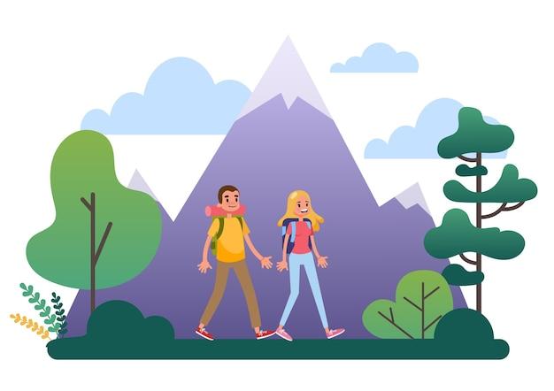 Persone che fanno un'escursione con lo zaino. viaggi e avventura