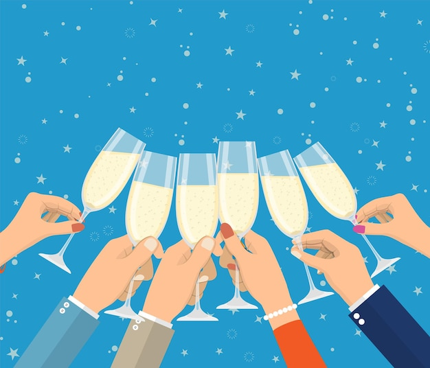 Persone in possesso di bicchieri di champagne