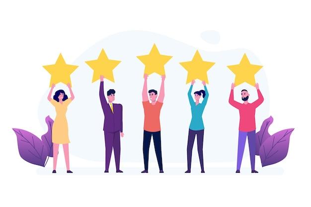 Persone in possesso di stelle di valutazione dell'oro. feedback positivo delle stelle, sondaggio sulla garanzia della qualità