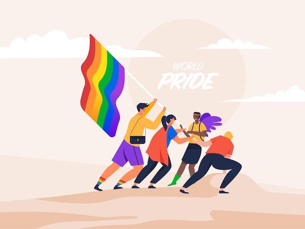 Persone in possesso di bandiera arcobaleno lgbt pride festival concept.