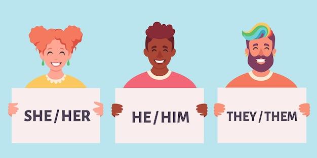 Persone che tengono cartello con pronomi di genere movimento genderneutral