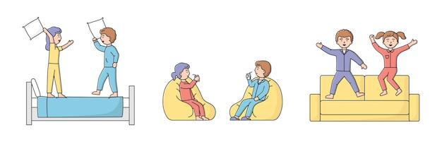 La gente a casa passatempi concetto. i personaggi trascorrono del tempo a casa. giovane coppia sta avendo una battaglia di cuscini sul letto. l'uomo e la donna si divertono insieme. stile piatto lineare contorno del fumetto.