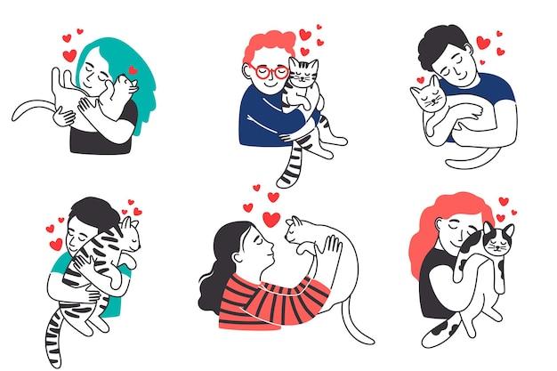 La gente abbraccia il set di animali domestici
