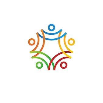 Illustrazione umana dell'icona di logo della famiglia insieme della gente