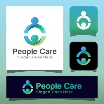 Persone o unità familiare umana insieme o logo della comunità. simbolo del cerchio con icona di assistenza alle persone