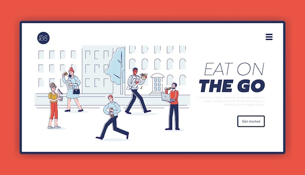 Persone che si affrettano e mangiano mentre camminano per una strada cittadina, pagina di destinazione del modello.