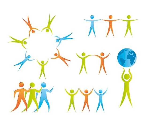 Icone di persone isolate sopra illustrazione vettoriale sfondo bianco