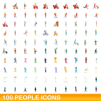 Set di icone di persone. illustrazione del fumetto delle icone della gente impostata su priorità bassa bianca