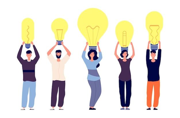 Persone e idee. diverse persone tengono le lampadine illustrazione.